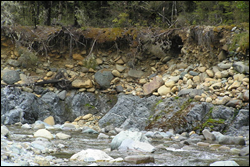 River bank showing alluvium-bedrock boundary