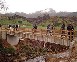 Bridge opening at Frank & Lisa White's farm, Sherry River